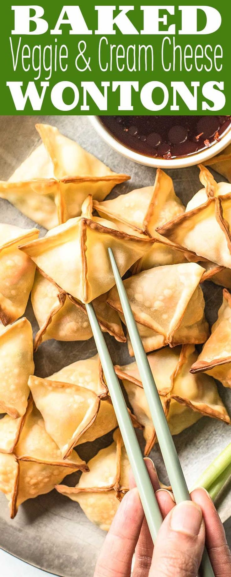 EASY vegetable and cream cheese baked wontons! Big crowd-pleaser and no need for deep-frying. Vegetarian make-ahead appetizer.
