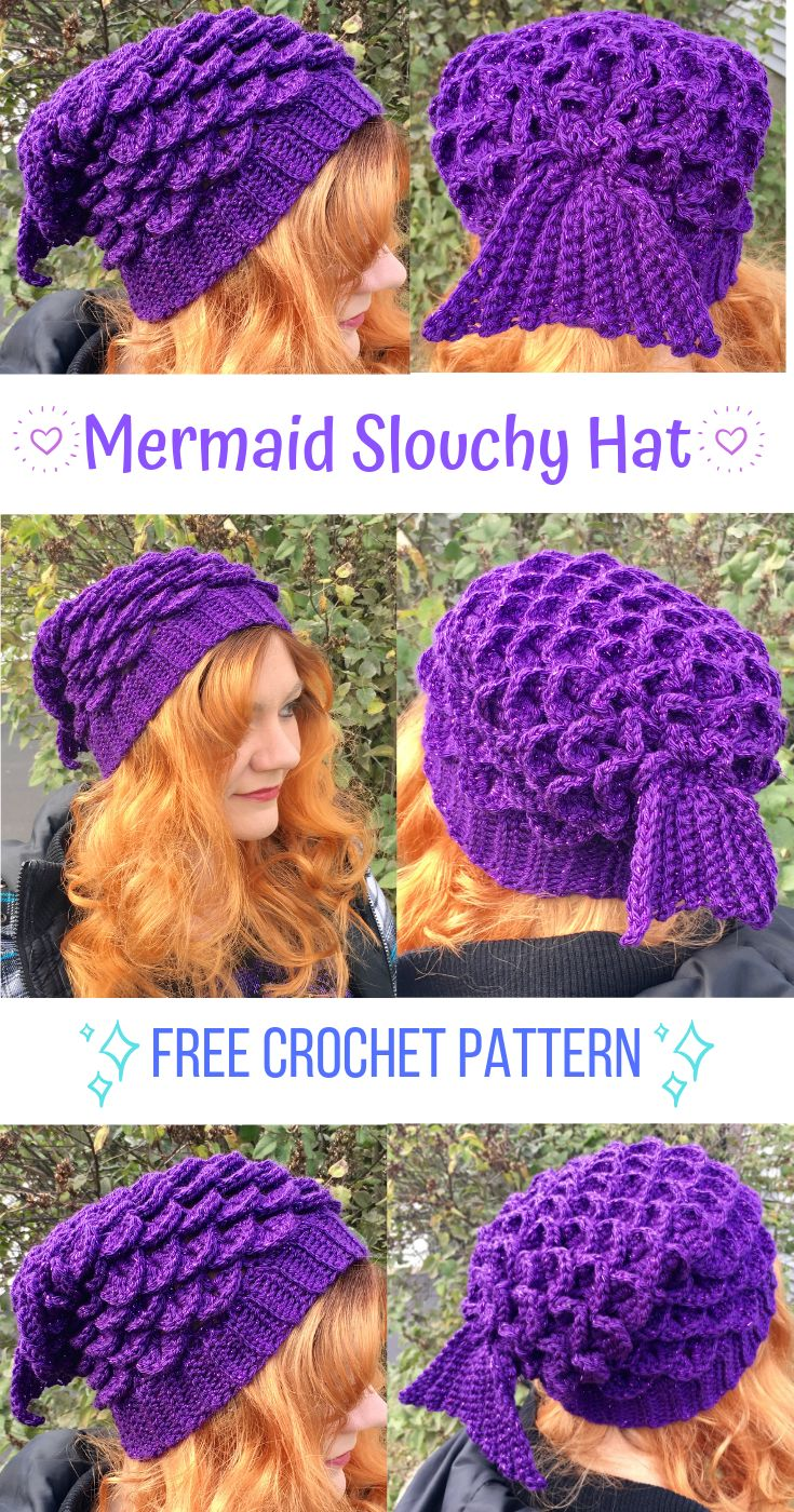 Mermaid Slouchy Hat – FREE Crochet Pattern!