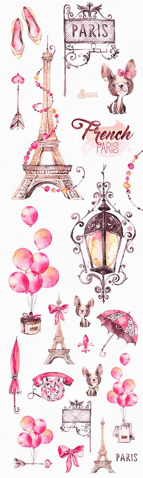French Paris Watercolor Clipart Shoes Fashion OctopusArtis