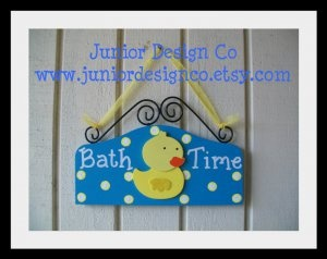 Rubber Ducky Bath Time Sign - Bathroom Yellow Duck Decor