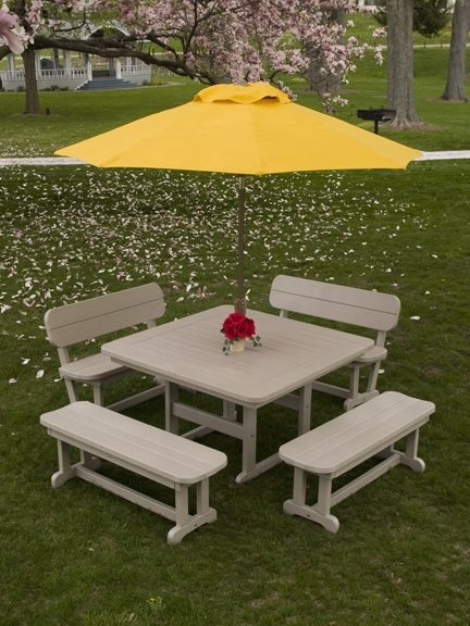 "Enjoy a picnic outside in a new way with this Park 48"" Square Dining Table. Enjoy this durable, maintenance free table for a lifetime (guarentee).  American made with eco-friendly poly wood, recycled plastic lumber."