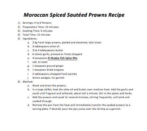 Moroccan Spiced Sautéed Prawns Recipe