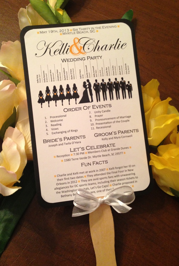 Cute silhouette wedding program paddle fans, perfect for a summer wedding! Found on Etsy.com