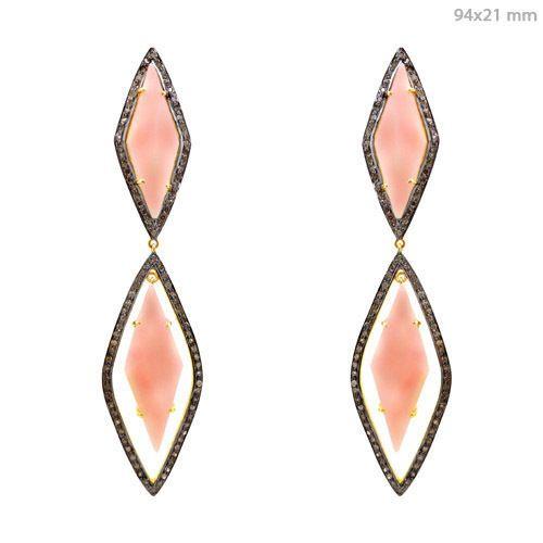 925 Silver Pave Diamond Dangle Opal Earrings 14K Gold Vintage Inspired Jewelry #Handmade #Dangle