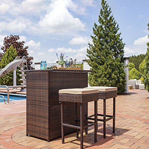 Sunnydaze Melindi 3-Piece Wicker Rattan Outdoor Patio Bar Set with Tan Cushions  Barstool dimensions: 16 inches wide x 16 inches deep x 30 inches tall; weighs 11 pounds each; weight capacity: 300 lbs each; table dimensions: 40 inches long x 24 wide x 41 inches tall; weighs 47 pounds, so 2 adults can sit at the bar. 2 shelves: 39.5 inches wide x 18 inches deep x 19 inches tall each.  Each piece is made from rattan-wrapped steel frames; bar stool cushions are made from foam and encased i...