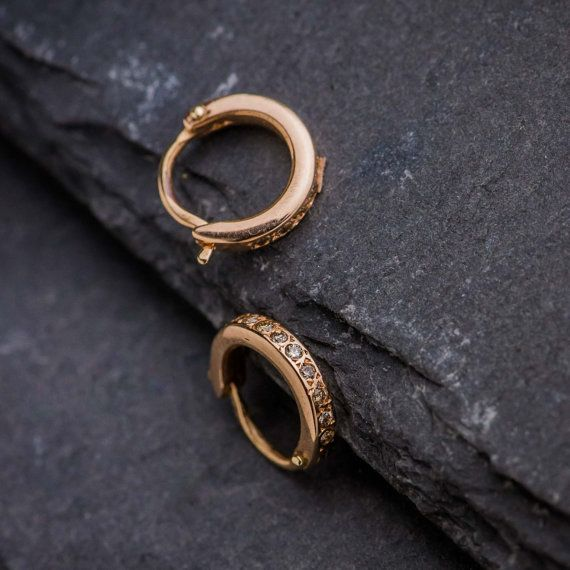 Mini Earrings in 14K Rose Gold with Brilliant Cut by ZEHAVAJEWELRY