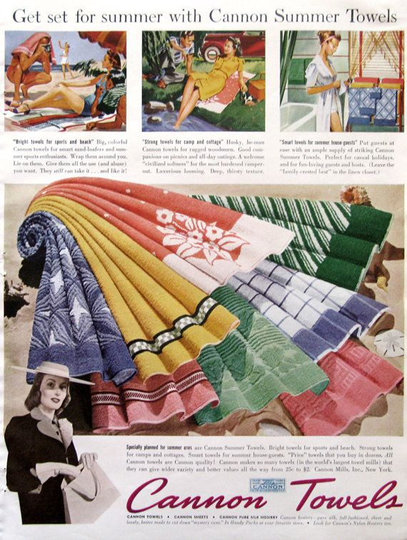 1940 Cannon Summer Towels ad from #RetroReveries