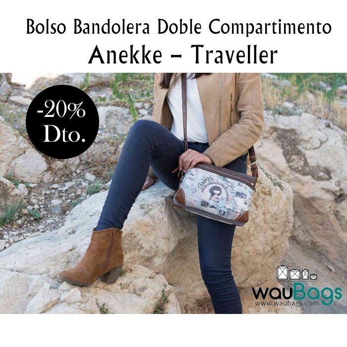 """Consigue el Bolso Bandolera Doble Compartimento Anekke """"Traveller"""", con 2 compartimentos principales con cremallera, varios bolsillos interiores para llevarlo todo bien organizado y un bolsillo en la parte trasera, también con cierre de cremallera. @waubags.com  #anekke #bolso #bandolera #complementos #oferta #descuento #rebajas #waubags"""