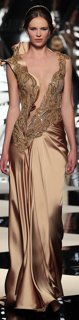 Mireille Dagher ~ Glamorous Evening Gown, Sahara Beige