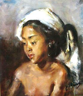 """Potret seorang gadis Bali"" by Antonio Blanco, Medium: oil on canvas, Size: 53cm…"