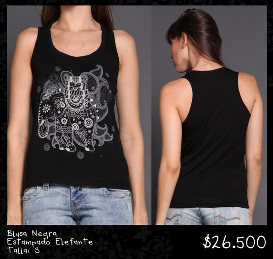 Blusa Negra Estampado Elefante Talla S