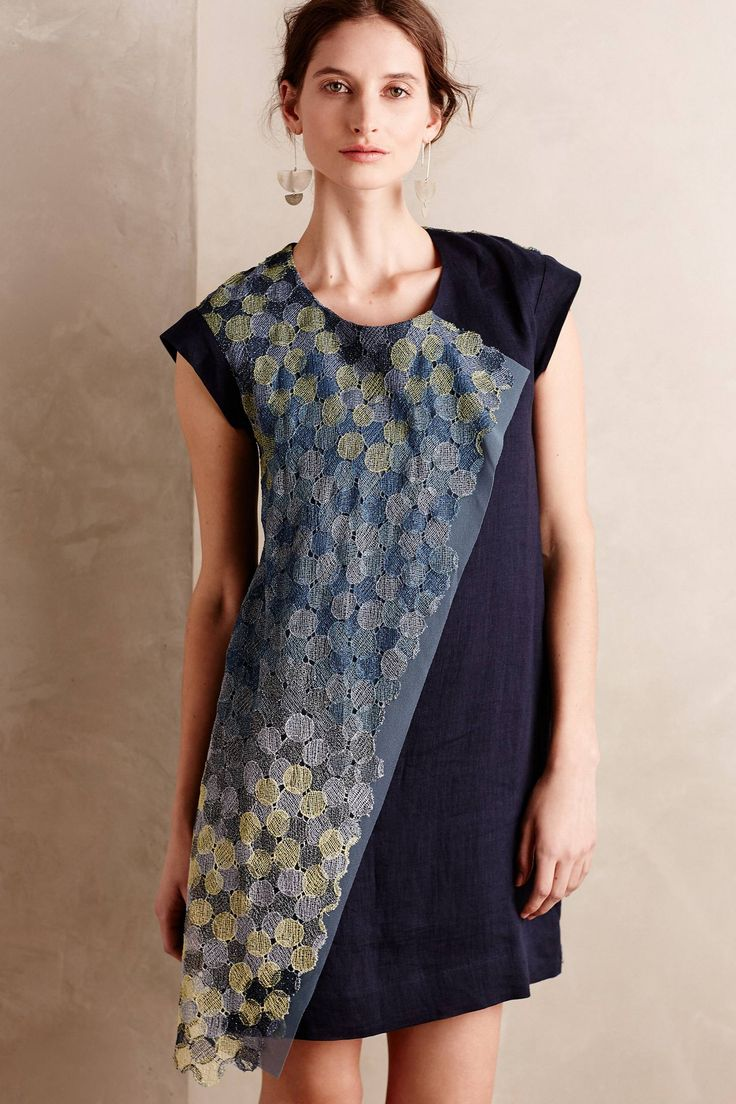 Mizuko Linen Dress - anthropologie.com [could also use hexagons in batiks to replicate the look.  NLP]