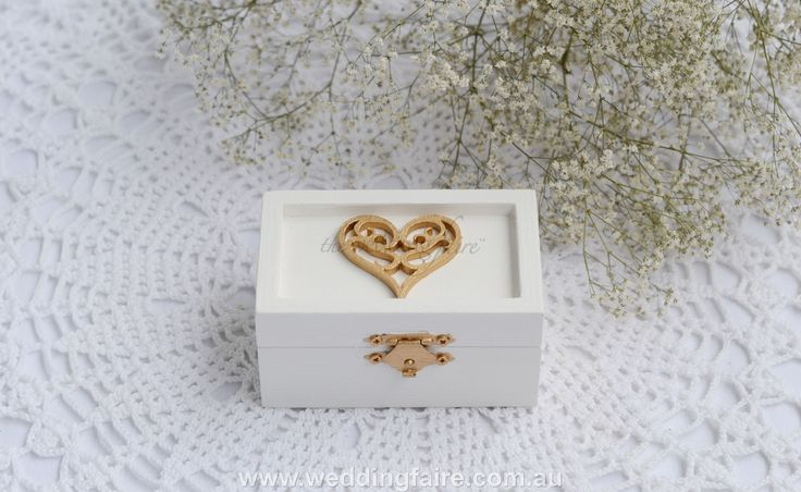 Colour Made to Order - Heart Scroll Rustic Ring Box - Burlap & Lace Insert - The Wedding Faire