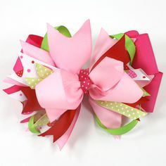Stacked bow Tutorial.  Bow Dazzling Volunteers, attach a lined alligator clip, rather than a french barrette, for ease in clipping to a headband.