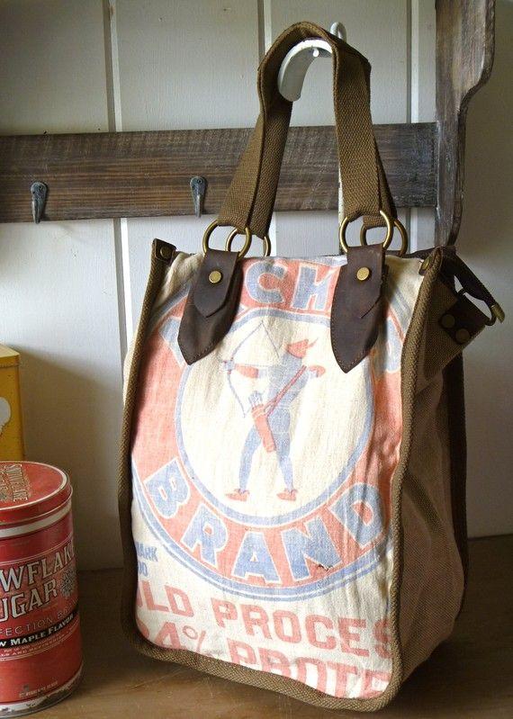 Feed Sack Hand Bags------------Love this idea