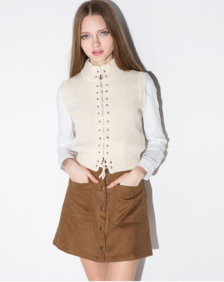 Fashion Women Single-Breasted Double Pocket A-Line Suede Skirt Button Front Midi…