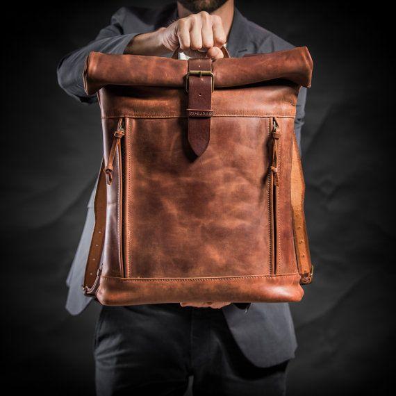 Leather backpack Roll top backpack by Kruk Garage Cognac brown by KrukGarageAtelier | Etsy