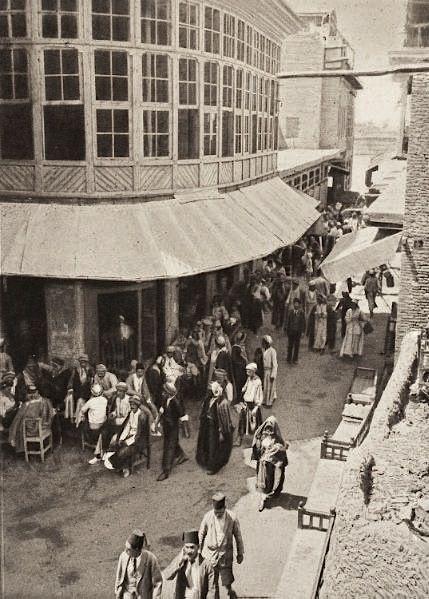 Coffee shop at a street corner, Baghdad, c1923