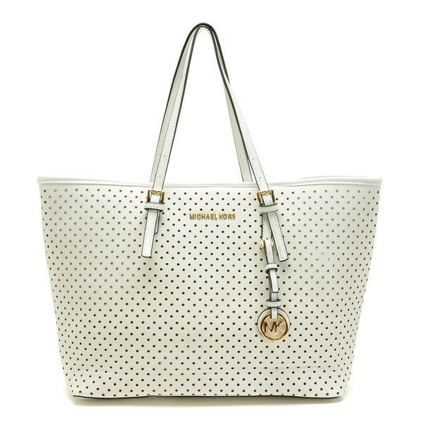 Michael Kors Medium Jet Set White Perforated Travel Tote Products  Description * White perforated saffiano leather