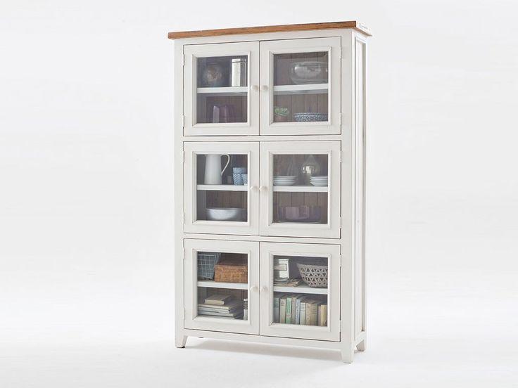 Biała witryna drewniana (szklany front). Kolekcja Alice 2