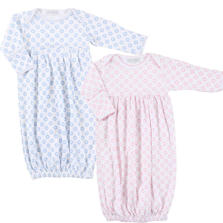 Boy/Girl Twin Set of 2 Gowns - Magnolia Baby Hearts & Stars