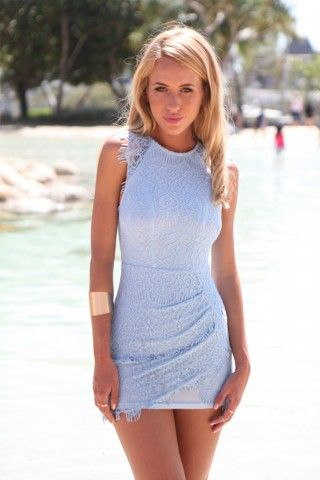 Light Blue Lace Bodycon Mini Dress | USTrendy