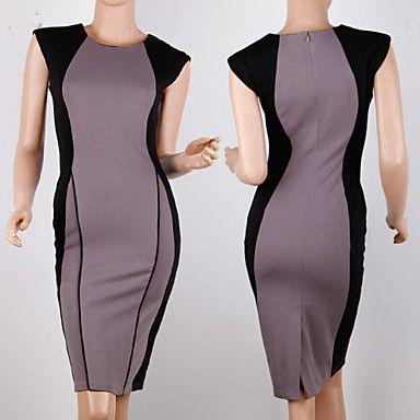Sheath/Column Jewel Knee-length Polyester Semi-Formal Dress – USD $ 19.99