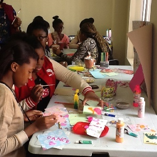"""My girls creating Vision Boards at our """"Organiz-her Workshop"""""""