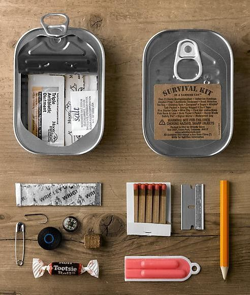 EVERY OUTDOORS-MAN MUST HAVE - Found on ewinsdrygoods.com! Sardine Can Survival Kit. ***((DIY w.closeable tin [altoids] ..))