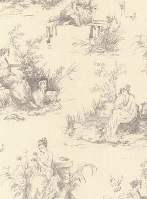 Light gray french colonial toile on cream wallpaper for Colonial mural wallpaper