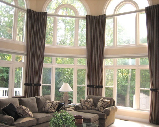 Soft Window Treatments For Two Story Family Room Google Search