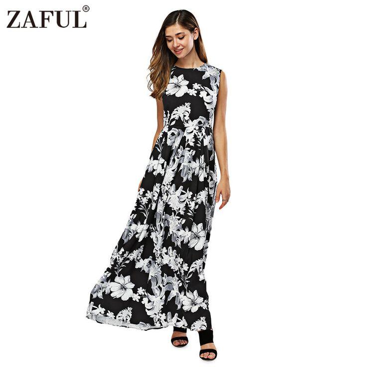 ZAFUL New Women Long Summer Dress Retro Floral Print Vintage Dress Sleeveless Floor-Length Female Party Maxi Dress