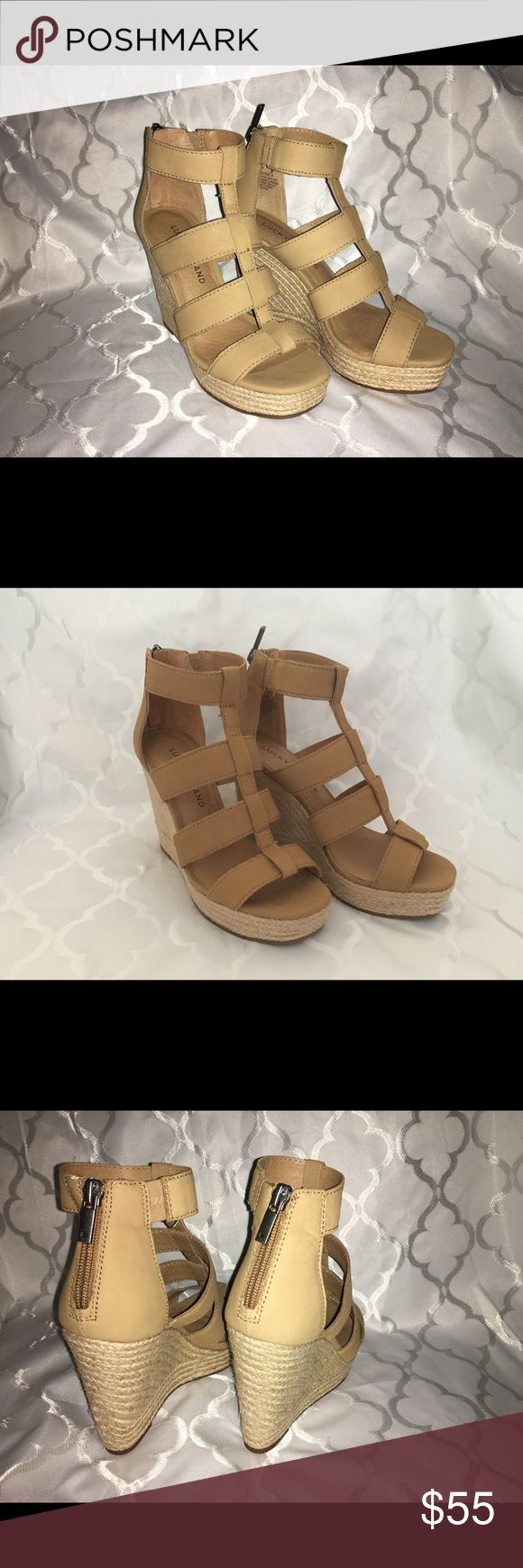 Lucky Brand Lateera caged zip back wedge Gladiator meets espadrille for this perfect combination of glam with a caged bodice, zip back and espadrille heel in a go wiht everything neutral nubuck color. New in box! Size 6.5. Lucky Brand Shoes Espadrilles