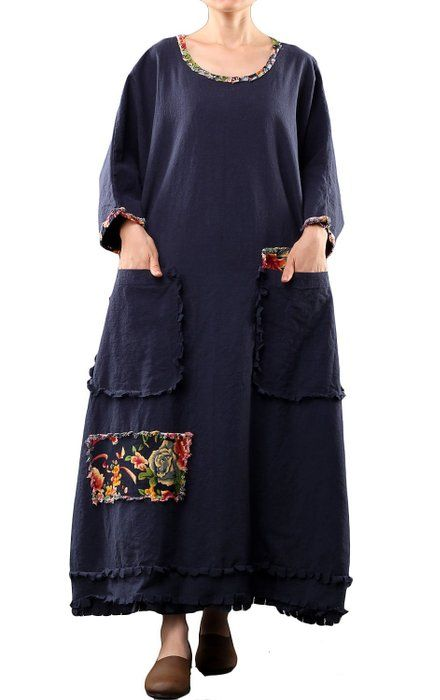 Mordenmiss Women's Long Sleeve Cotton Linen Dress Oversize Clothing Dark Blue