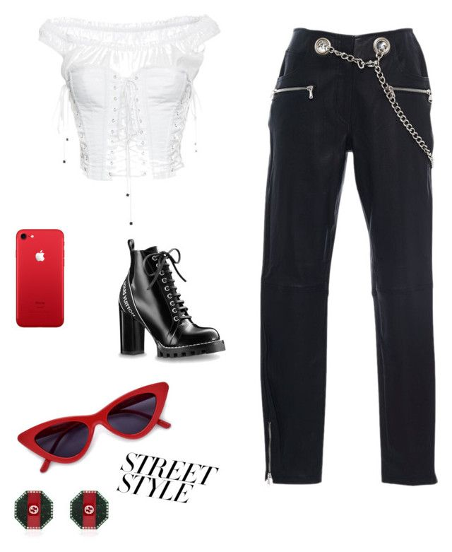 """pop of red"" by fashionandchill ❤ liked on Polyvore featuring Miaou, Dolce&Gabbana and Gucci"