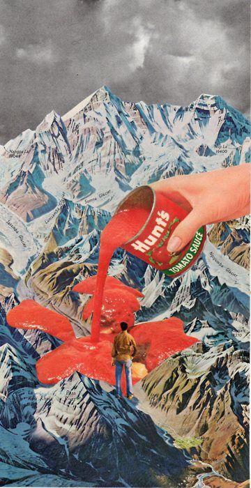 Me lembrou um dos meus trabalhos favoritos de faculdade :)  (Villejavat / Tetradia - collage)