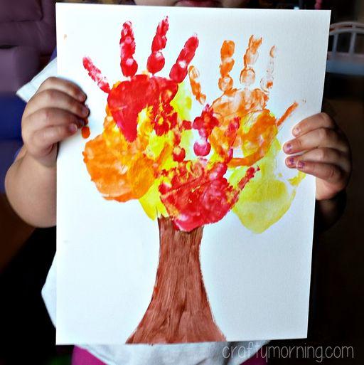 infant fall craft ideas | Kids Handprint Tree from Crafty Morning