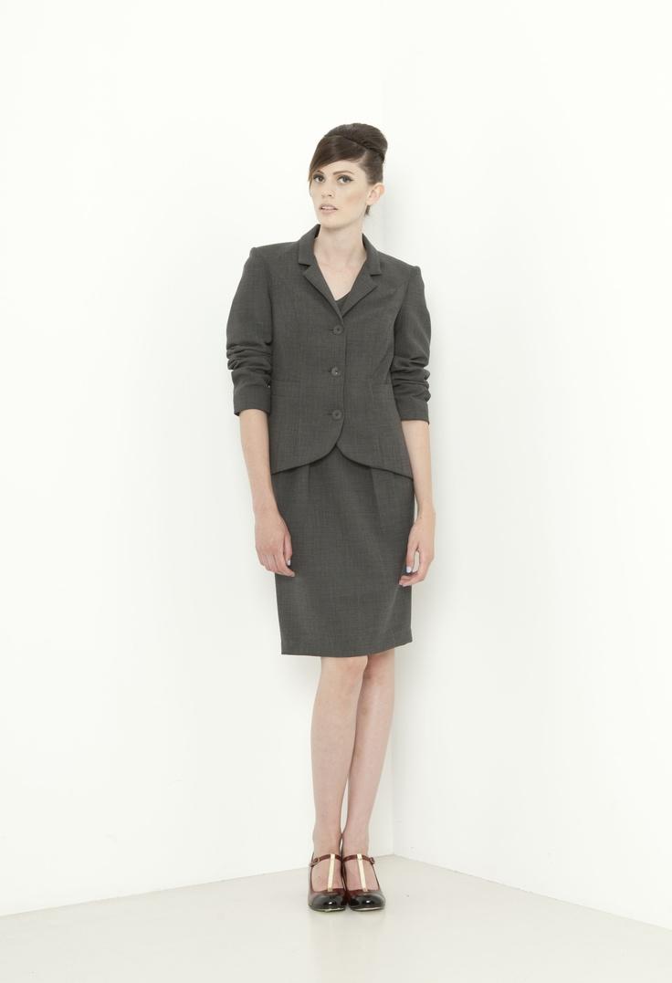 Camden Jacket - charcoal  Eton Dress - charcoal/black