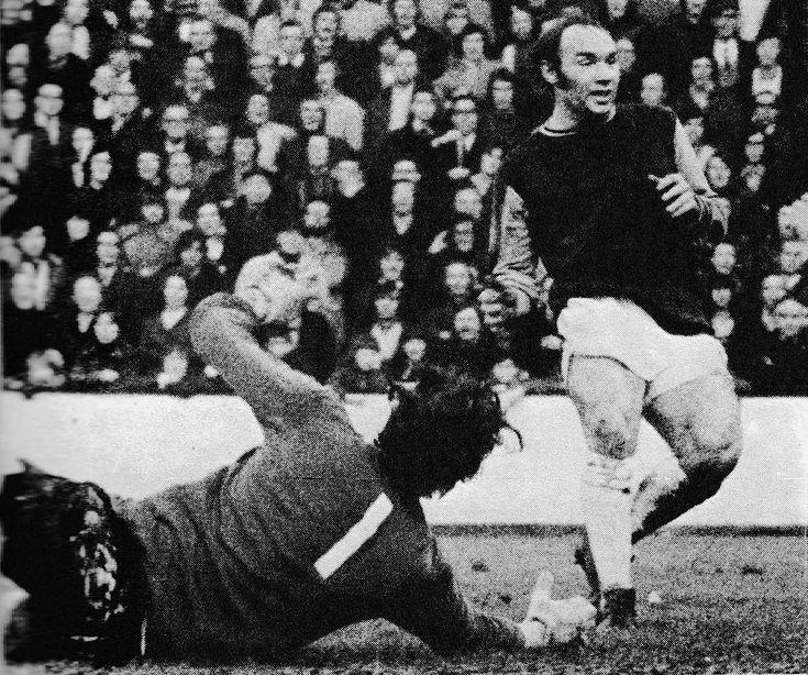 14th October 1972. West Ham United striker Bryan 'Pop' Robson scoring past Sheffield United goalkeeper Tom McAllister, at Upton Park.