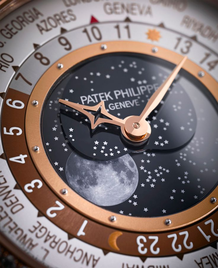 World Time Moon Reference 7175 by @patekphilippe fuses a classic Moon-phase complication with a world time watch. The classic Patek world time discs are placed at the periphery of the dial and indicate the time in all of the world's 24 time zones at a glance. #luxurywatch #patekphilippe #ladieswatch See more at www.thejewelleryeditor.com
