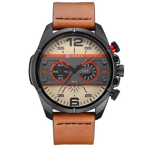 CURREN Watches Men Luxury Brand Army Military Watch Leather Sports Watches Quartz Men Waterproof Wristwatches Male Clock  Men's Watch Affordable Cheap Fashion Products Website Brown