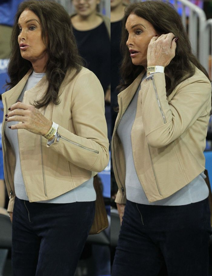 Caitlyn Jenner at the UCLA Bruins vs. USC Trojans basketball game held at Pauley Pavilion in Los Angeles, California, on February 18, 2017.