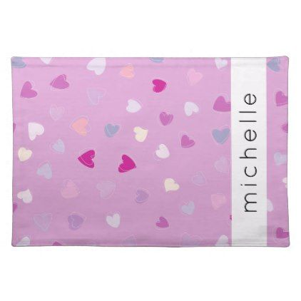 Your Name - Love Romance Hearts - Purple Pink Placemat - romantic gifts ideas love beautiful