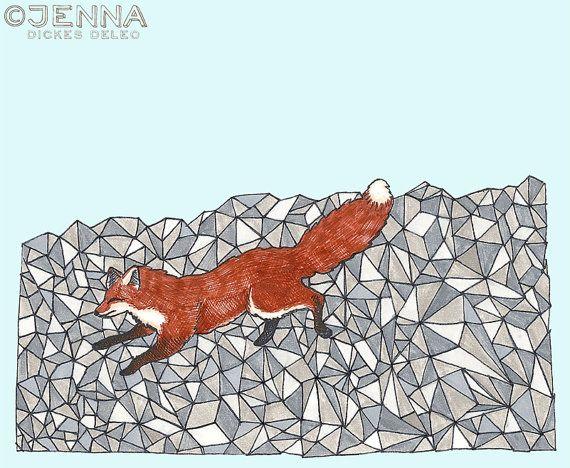 Fox in the Snow prisms illustration print