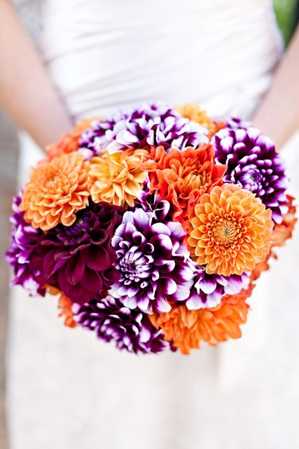 Purple and Orange wedding bouquet.