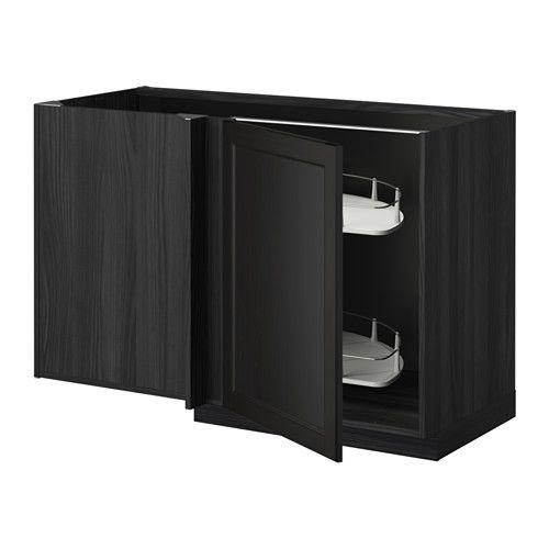 IKEA - METOD, Élt bas angle+aménagement coul, effet bois noir, Laxarby brun noir, , Optimisation de l'espace dans un coin et contenu de l'élément visible et accessible grâce à l'aménagement coulissant qui comporte 2 tablettes.Idéal pour ranger des marmites, des plats à tarte ou des aliments secs.Vous pouvez choisir de monter la porte à droite ou à gauche.Structure de construction solide - 18 mm d'épaisseur.Charnières à clipser qui se montent sur la porte sans vis. Permet…