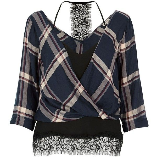River Island Navy checked layered wrap blouse ($44) ❤ liked on Polyvore featuring tops, blouses, blue, checkered blouse, v-neck tops, layered blouse, layered tops and wrap top
