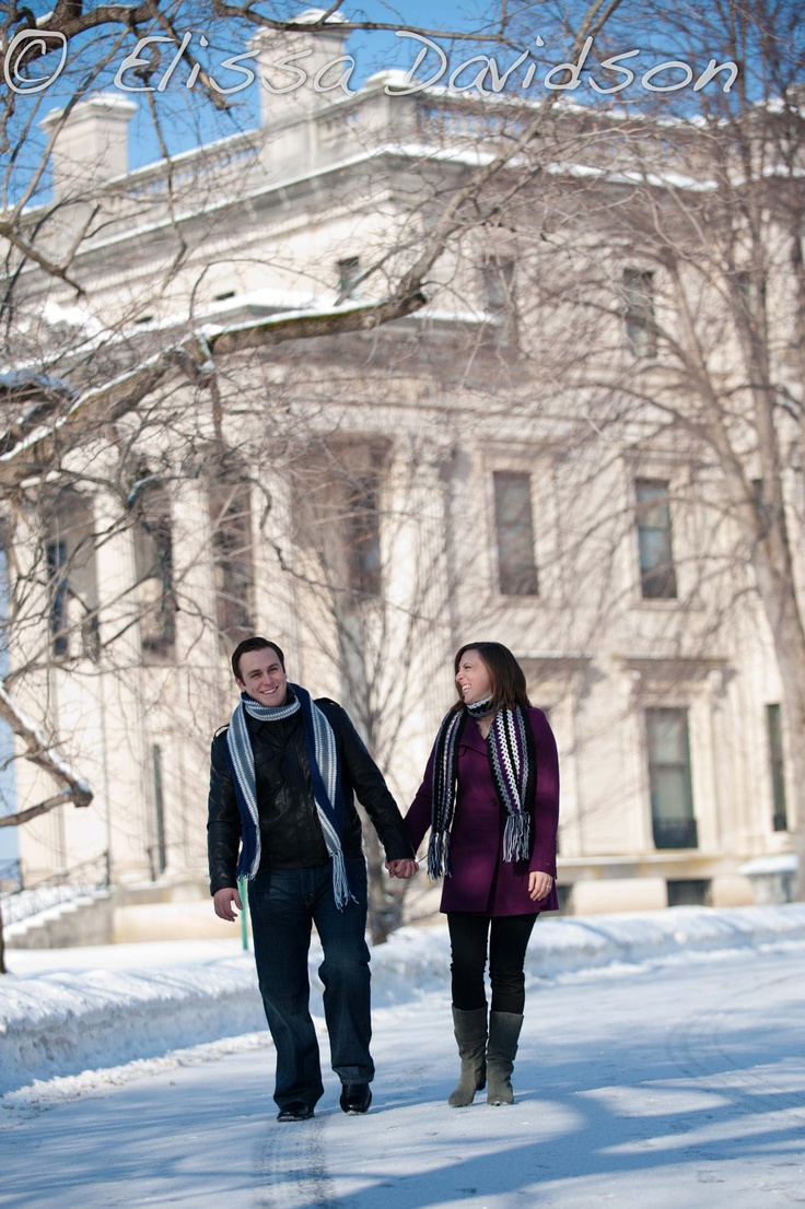 Think about getting engagement photos to share the happy news with your family & friends! No matter the season, the Vanderbilt Mansion National Historic site makes a lovely backdrop for photos. this one by EID Photography, Elissa Davidson.