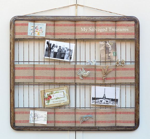 Turn an old baker's rack shelf into a picture holder/message center with the help of some jute webbing. From MySalvagedTreasures.com