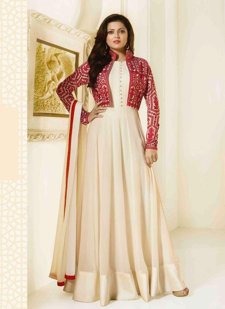 Cream Georgette Designer Floor Length Suit